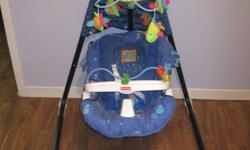 Bought new Fisher Price aqua series rhythmic baby swing for sale.My baby girl LOVED this swing! She would cry when I would take her out of it. It swings heard-to-head direction or side-to-side. It has a globe above the swing which lights up with a fish