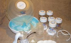 I have for sale a manual breastpump with 4-4oz bottles and 2-9oz bottles, and sterilizer included.  For accessories there are 4 clear covers, 4 storage disks, 2 size 2 nipples, 1 handle to make bottle into sippy cup, 2 bottle holders, and spare piece for