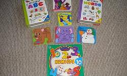 This set includes 8 books.  All books are in excellent condition and have thick cardboard pages: My First Words, My First ABC's, Hooray for Babies, My Puppy Playtime, My Baby Elephant, The Happy Snowman, Wendell's Day, 123 Number Turn and Learn Book.