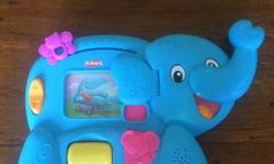 Elephant ! Pull down on his trunk to learn the alphabet. Super cute! $4 Sophie and mini Sophie! Mini Sophie has a bit of wear. Big Sophie barely used. $4 Crib Aquarium! $4 Melissa and Doug stacking wood blocks! $4 Skip hop owl! $4 Steering wheel toy! $4