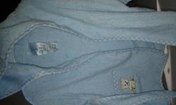 Baby blue bath robe. Size 0-9 months. Comes with little booties -never worn. Very adorable! From clean, smoke-free home.