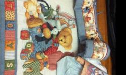 Selling this as a set , includes blanket ,crib skirt, quilt ,bumper pad and matching teddybear wallpaper border . If not interested in all pieces I will sell separate .All in great condition . This ad was posted with the Kijiji Classifieds app.