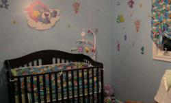 Care bears bedding 125 obo items include: comforter bed skirt curtain mobile wall stickers ceiling fan chain lamp with shade clock