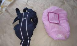Baby Bjorn authentic carry on snugly and a pink baby girl car seat cover, both used but great condition, really nice and warm for winter!! Paid $160+ cover will sell for only $45 both!! Please email or call 668 3251  I will respond promptly to either