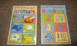 Includes 2 baby board book sets - Animals and Numbers. Each set includes 6 cute little board books. Great condition, almost like new, they were only lightly used and no chew marks.