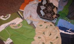 Near excellent condition, no stains. Couple Christmas outfits only worn once. Wide Variety of items. Includes: t-shirts, long sleeve shirts, vest, diaper shirt, shorts, swim short, pants, touque, hat, socks, shoes, onesie short and long sleeve, muscle