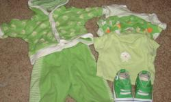 Size 3 month 6 piece outfits includes 3 onesies, pants and jacket, and shoes, all from Children's Place.  Have matching green and blue sets, $5 each set.  Great shape, clean, smokefree home.