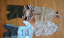 I have a lot of gently used boy's 0-6 months sized clothing. Lots of sleepers, diaper shirts, pants, shirts and overalls in brand names, GAP, BASIC, Please Mum, Children's Place, Sears, Carter's, ETC. Some mittens, socks and matching hats came with