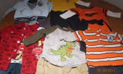 I am selling a box full of baby boy clothes all in excellent condition.  No rips or stains and only worn a few times.  Smoke and Pet free home.   Sizes are Newborn and 3 Months.   There are some brand new items as well.   The box includes: 2 brand new