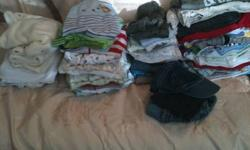 Lots of boys clothes. 3-6 months -13 pairs of jammies, 24 shirts, 4 onsies with shorts, 12 pairs of shorts and pants, 2 sweater outfits, 1 overalls with matching shirt, 1 sweater, 1 ballcap $40 6-9 months -1 jean jacket, 7 shirts, 2 pairs of jammies, 1
