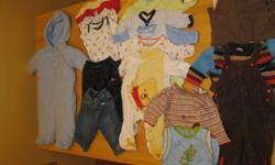 Baby Boy Clothing Size 6 Months $40   I have 1 box full of Baby Boy clothing size 6 Months for sale. Contains 19 Items. Snow Suit, 4 Onesies, Fleece Lined Jeans, Fleece Lined pants, 6 sleepers, 1 summer outfit, 2 long sleeve tops, 1 sweater, 2 pairs of