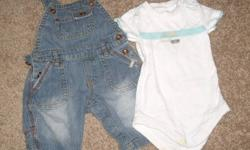 Size 0-2 month Mexx overall, in perfect condition, with onesie, marked 3-6 months but fits small.  Clean, smokefree home