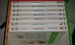 """7 DVDs. All play perfectly and my son LOVED them, especially the Monet one. Note: Instead of Baby Newton, the DVD is """"Baby Da Vinci"""" and instead of Language Nursery, the disc is """"On the Go""""."""