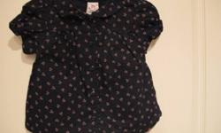 Baby Gap cherry blouse; navy with small cherries, front buttons.  Size 18-24 months.  From smoke free home; see sellers' other ads.