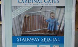 Cardinal Gates Stairway Special Gate - NEVER been used. In fact, the box was never opened - Bought 2 & only ever used 1 - White - Top of Stairs Gate From the manufacturer: Cardinal Gates are essential to protecting your child from dangerous stairwells or