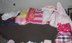 BAG 1 $40 Pictures 1 and 2 3 dresses 2 summer outfit 2 summer 1 piece 2 sweaters 2hats 2piece swim suite 1 adorable headband with think band slippers shoes 1 skit 4 sleepers 1 short sleeve sleeper gloves 1 T-shirt 4 pairs of pants 2 piece PJ set 4 onsies