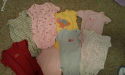 All diaper shirts, sleepers, T-shirts, tank tops are $2.00 each   All outfits ranging from 2- 3 pieces are $5.00   Dresses - $ 3.00   Jackets - $ 5.00   Pants and Pajama outfits are $3.00 each   May consider a single price for the lot if reasonable.