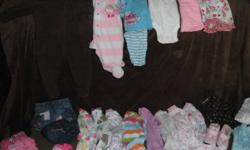 Baby girl clothes sizes from newborn right up to 6 months. Sleepers, shirts, sweaters, pants, jeans, diaper shirts, dresses, skirts. I also have a pair of boots, light snowsuit and a winter car seat cover. There is will over 100 items from tons of brands.