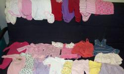 6 Sleepers 3 Dresses 4 Pants 2 Skirts 11 Onesies 2 Shirts Various brands, all in good condition. From a smoke-free home. See my other baby stuff ads!