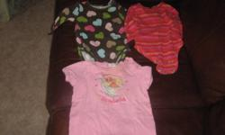 Everything size 3 mo. 3 onesies, 2 sweaters, 3 shirts, 1 pair of pants, a winter hat & 1 pair of overalls.  $10 OBO