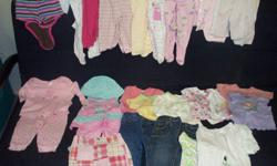 1 onesie with shorts 6 Sleepers 1 Sweat Suit 3 Outfits 7 Shirts 1 Shorts 2 Pants 2 Jeans 3 Pairs of white tights All in good condition from a smoke-free home, Various Brands. See my other baby stuff ads!