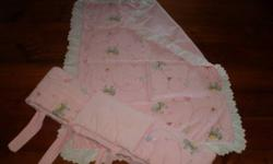 3pce crib set...duvet cover, bumper pad, white eyelet crib skirt. Colors are pink and white and eyelet combo. Owned and used by grandparents. Comes from a clean, smoke and pet free home.
