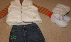 ALL FROM A CLEAN - PET - SMOKE FREE HOME!! Gentley used Hoodie sweater from The Childrens place White Reversable puffy Vest from TCP white and pink Snow boots from Walmart Cutest Jean Skirt gorgeous dress from TCP ALL SIZE 2T