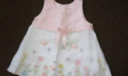 Baby Girl's dresses size 3-6 months. Light pink and white with beautiful white over-lay with rosebuds, Salmon Pink dress with over-lay and ribbons and flower. Both with matching underpants. Worn once or twice for pictures. Both like new. From a smoke free