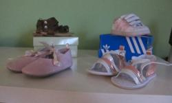 Size 3 - 4 pairs of shoes Brand new sandels (still in the box) Pink Adidas shoes (paid $50) Pink and White RocaWear sandles (paid $25) Pink Dress shoes   All for $35   See my other ads..cleaning out daughters closet....   Also have a purple Bumbo (not
