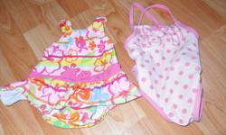 Swimsuit - flowers, Childrens Place - size 0-3 months Swimsuit - polka dots, JOE Fresh - 3-6 months Summer Bonnet - white, with purple and pink butterflies - one size fits all Shorts - George, cotton, pink - 3 months White short-sleeve T-Short with purple