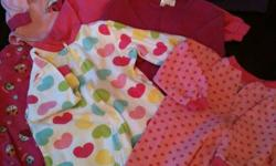 ****All in excellent condition***** 5 sleepers plus 1- 2pc jammies- fits sz 6-12 mos ** all for $5** 11 pairs of pants (see photo) - fits sz 6-12 mos **all for $10** 7 Tops - Fits sz 6-12 mos ** all for $5** 7 sleepers- fits sz 3-6 mos **all for $5**