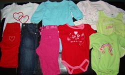 Gently used baby girls clothing size 3-6 months.  Lot includes the following:   6 - Long Sleeve Onsies 7 - Pair Pants 2 - Short Sleeve Onsies 4 - Long Sleeve Shirts 1 - T-Shirt & Panties 1 - Pair Winnie the Pooh Slippers