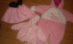 Baby girl clothing for sale size 6-12 months..Excellant shape.. Beautiful baby girl dress only worn once..pink jacket,snow suit,velour outfit,6 pairs of pants,pink sweater coat,wind suit,tommy shirt,5 shirts,pink outfit,...brown cords,pink cords,2