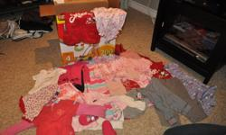 I have a lot of baby girls clothes size (mostly) 9-12 months in excellent condition, 50+ items.  Includes sleepers, pants, shirts, onesies.  Smoke Free Home.  Brands include; gap, peckle, old navy, children's place, carters etc.  A lot of spring/ summer
