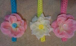 handcrafted baby headbands (approx size 0-18months) $7.00 each or 2 for $10.00 I am in the middle of making larger headbands approx toddler-kids size also, so i will have those available soon. I am located in airdrie for pickup or i can meet you at