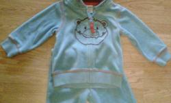 aqua blue velour 2 piece for a boy or girl 3-6 months ~ $12 boys infant size 4 sneakers $6 each .. or $15 for all 3 .. baby snugglie snow suit 0-3 months $15 musical toy for tummy time or laying on their back $12 vibrating reclining chair $10