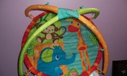 Your baby will never get bored! Whether on the tummy or back, your child will enjoy overhead activities that stimulate the senses and encourage head lifting. On-the-mat activities develop important motor skills, in addition to sensory stimulation and