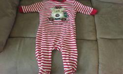 "Cute reindeer sleeper - ""Baby's First Christmas"". For a boy or girl. Size 3-6 months. Located in Greenwood. Non-smoking home. First come first serve. Please see my other ads for more great items!"