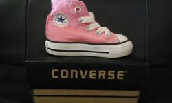 Baby Converse Sneakers   Size: 4 Color: Pink   Price: $15   I also have many other pairs of baby/toddler shoes available in sizes 5-6 in brands such as Hush Puppies, DC, Crocs, Robeez, etc. All gently used, all posted on Kijiji for your viewing.