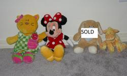 Kitty - $4 Minnie Mouse - $4 Dog with rattle inside - SOLD Giraffe Gund with rattle inside - $3 very clean, from a non -smoking house