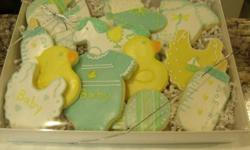 Too cute to eat. These cookies are works of art. Perfect for New Arrivals, Showers, and  Christenings. Can be done as an arrangement, boxed gift set or platter, depending on your needs. Check out my website. www.cutitoutsugarcookies.com   Gluten Free is