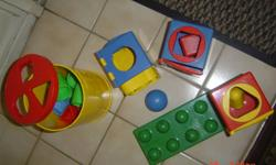 2 separate toys, as seen in pictures; large parts.Washable & sturdy. Comes with all pieces that fit in appropriate openings. $7.00 for all.