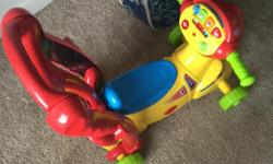 We are moving and in dire need to get rid of our son's toys. Full set of four toys. If wanting to purchase individually, the price is $15 per toy. The motor bike and the leapfrog table are bilingual toys.