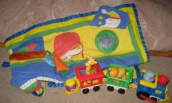 """This lot includes an activity mat and 3 piece train set by Fisher-Price and includes 2 characters and 2 animals. Both are in great condition. Mat is 30""""x30"""" and is from Playskool and folds for easy storage or transportation."""