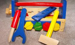 Selection of educational wooden (and other) toys. Stacking cups with shape sorter Wooden tool box, with fine motor skill elements Wooden train set with building pieces Wooden train magnet set All in excellent condition. Take all - great deal.