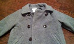 Little boy's, double breasted wool coat. Size 12-18 months. Very cute! This ad was posted with the Kijiji Classifieds app.