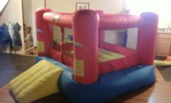"Inflatable Bouncer. Dimensions 83"" square. With front slide at 32"" and rear inflatable tube leading to air supply you need a 8ft x 15ft space to be able to inflate this in a basement. Great for the kids in winter to bounce off  some energy.  Inflates in"