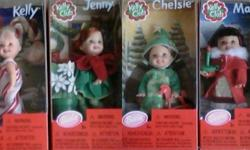 Christmas Kelly Dolls / Tree Ornaments 2001 -Kelly /CandyCane,Maura /Angel,Chelsie /Christmas Tree, Maura /Candle Stick, Jenny /Poinsetta, Chelsie/Reindeer & Tommy /Snowman/ (set of 7 ) - $149.99 -- Christmas Sisters 1998 gift set - Barbie, Stacie w/Kelly