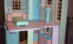 This Barbie house is clean. It is in good condition.