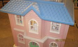 Pink Barbie Doll House measuring approx. 3 Ft High  by 3 Ft Wide 2 Ft Deep including furniture and a Barbie car. Delivery to the Kingston area possible